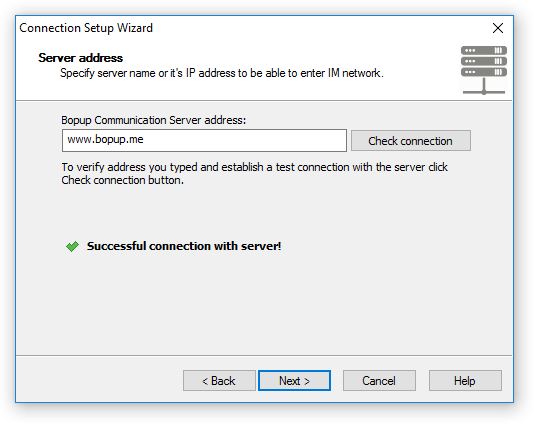 Specify the name of the IM server (the client-side software)
