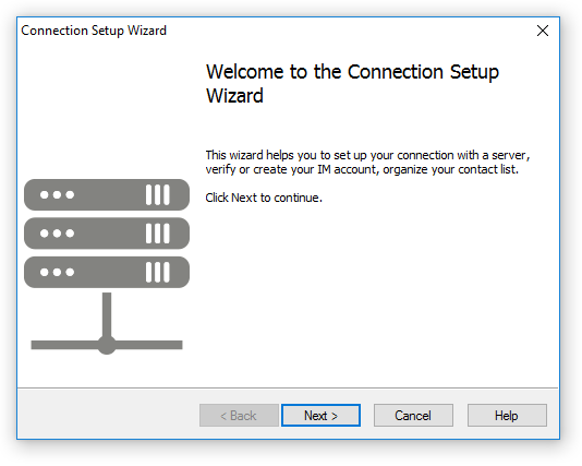 The welcome page of the Connection Setup Wizard (the client-side software)