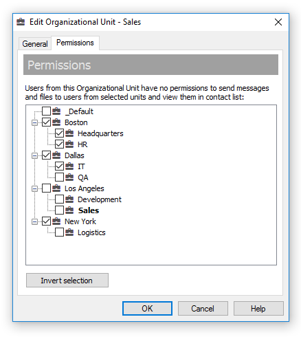Manage the Organizational Unit permissions that apply to all users from the unit